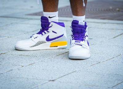 Checks over stripes for the real ones, in the Jordan Legacy 312's in white, purple, and gold!