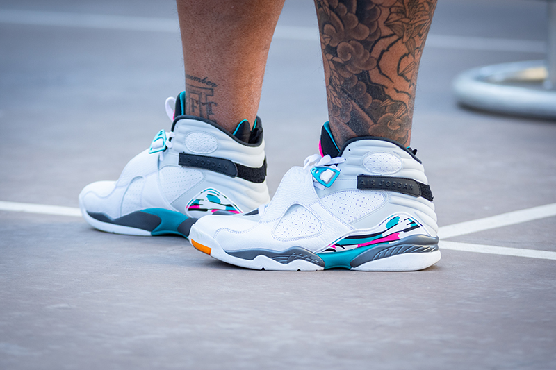 """Someone is taking their talents to Miami, in the Air Jordan 8 Retro """"South Beach"""" sneakers."""