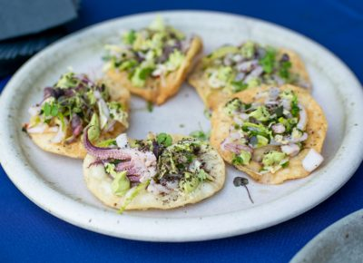 Fresh squid tostadas are always a good idea.