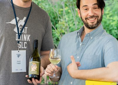 (L–R) David Laggis of Vine Lore gives us a full tour of the communal brands wine alongside brand ambassador Alejandro Ortiz.