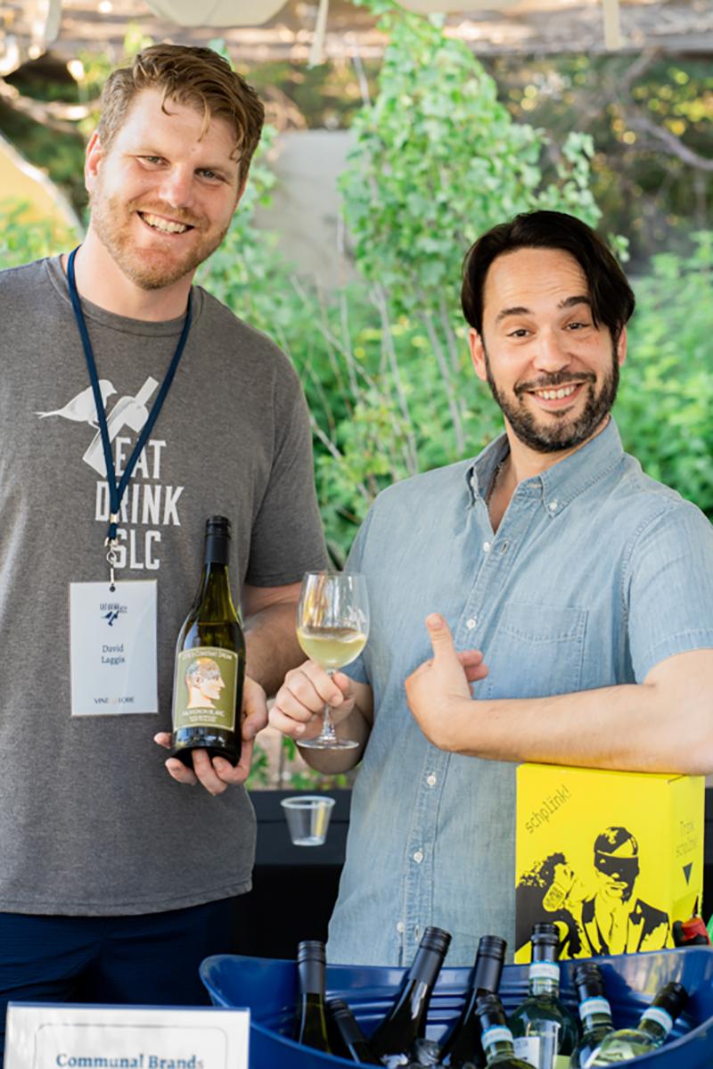 (L–R) David Laggis of Vine Lore gives us a full tour of the communal brands wine alongside brand ambassador Alejandro Ortiz.