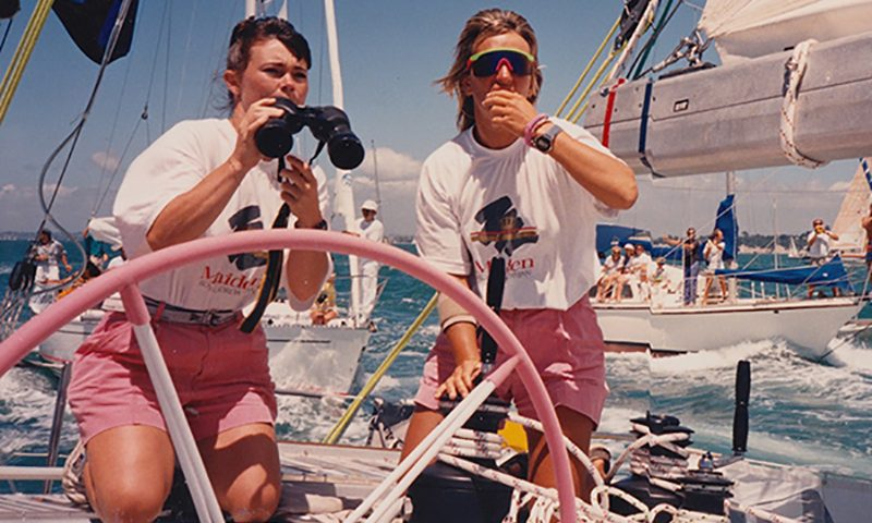 Tracy Edwards and crew aboard Maiden.