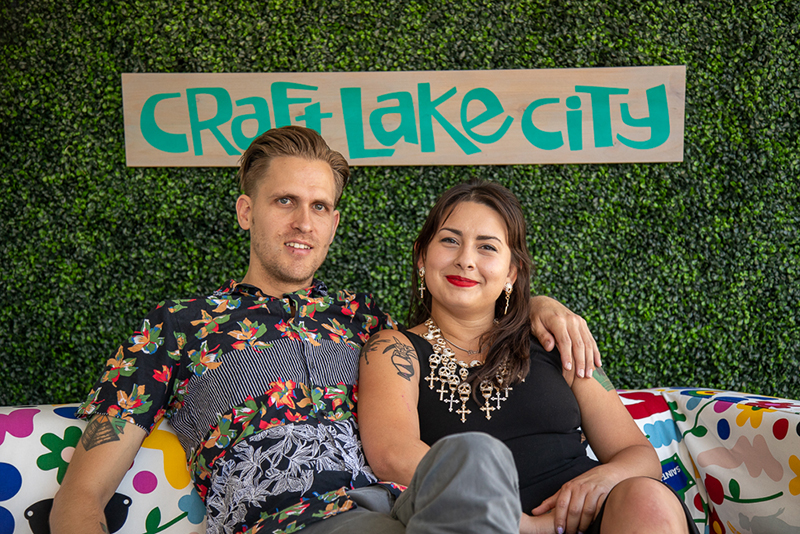 (L-R) Kyle and Bianca relax on the sustainers' sofa. Craft Lake City is building a base of monthly donors to help fund year-long education and programming.