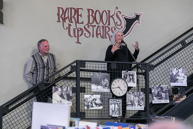 (L–R) Brooke Williams and Terry Tempest Williams both spoke in celebration of Weller Book Works. Tempest Williams worked as a bookseller in the '70s, and she credited Sam Weller as a driving force in her decision to publish her first book.