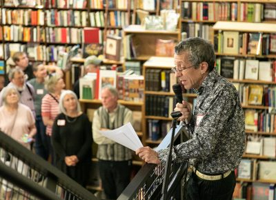 "In closing, Tony Weller reminded his guests to ""please enjoy this special company—you are some of our community's brightest and most open-spirited persons. Have some cake and fun. Choose a book. Thank you for supporting Weller Book Works. It is a labor of love and we are vendors of dreams."""