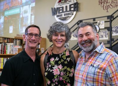 (L–R) Eric Shapiro, Robyn Sargetakis and Manoli Sargetakis reminisce about the years they have shared with the Weller family. Just like their young pal Tony Weller, Mr. Shapiro and Mr. Sargetakis both worked for their fathers' family businesses—Shapiro at Shapiro Luggage and Gift and Sargetakis at Silver State Suppliers.