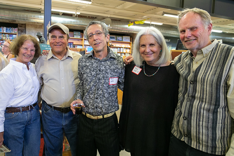 (L–R) Karen Green, Brent Green, Tony Weller, Brooke Williams and Terry Tempest Williams attended the 90th Anniversary Party for Weller Book Works.