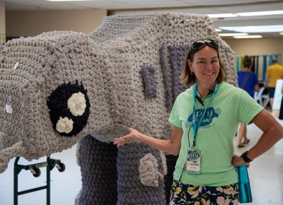 "STEM director Beth Drees loved the crocheted AT-AT created by GeekeryMade. ""It was pretty hard to get it here, but it was sooo worth it,"" she said."