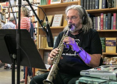Phil Miller played his B-flat soprano sax to set the scene at this 90th anniversary celebration.