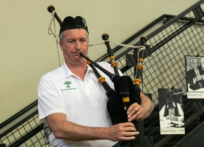 Robert Baxter has known Tony Weller for years. At the 90th Anniversary Party, he played his bagpipes—a lively solo that brought a smile to Tony's mother, Lila Weller.
