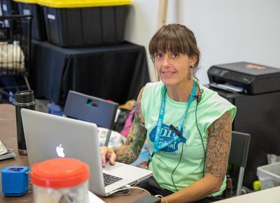 Inventory Coordinator Amy Stocks kept the radios charged and the zip ties handy as she worked behind the scenes to ensure a successful Craft Lake City DIY Festival.