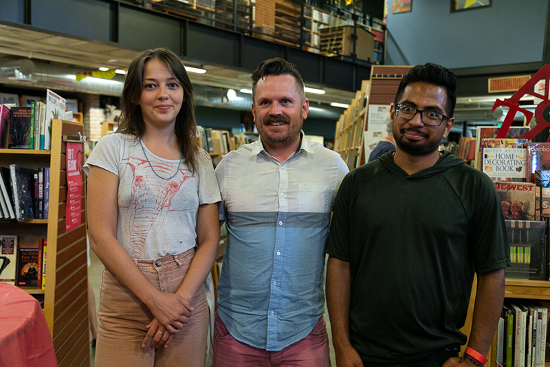 (L–R) Hallie Taylor, Gray, and Willy Palomo help Weller Book Works celebrate 90 years. Taylor and Gray reminisce about poetry readings at Cup 'o Joe 14 years ago. Palomo is the program manager of the Utah Humanities Book Festival, which takes place from Sept. 15–30.