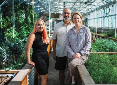 (L–R) Frog Bench Farms farmer Stacy Semborski and owners Joe and Paula Sargetakis provide veggies to various restaurants within a 10-mile radius nearly completely independent of the city's water system.