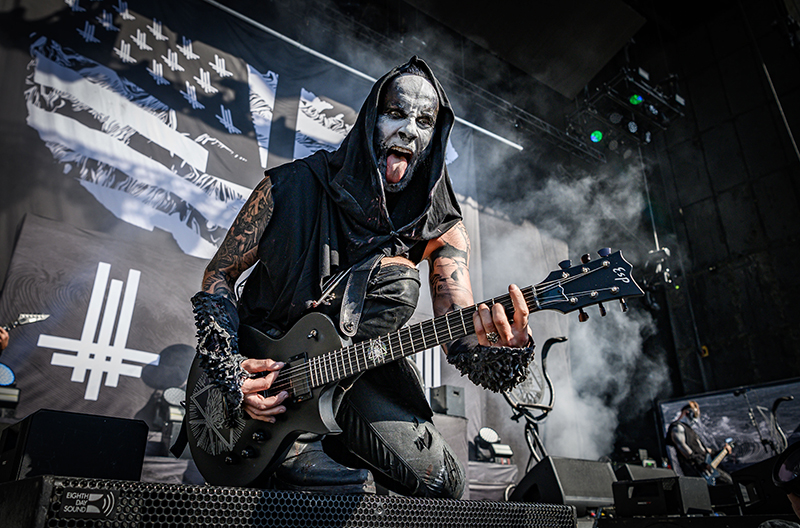 Raging with intensity and furor, opening band Behemoth performs at Thursday night's Knotfest Roadshow at USANA Amphitheatre.