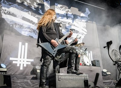 Poised to rock, Behemoth guitarists slay their set at Thursday Night's Knotfest Roadshow.