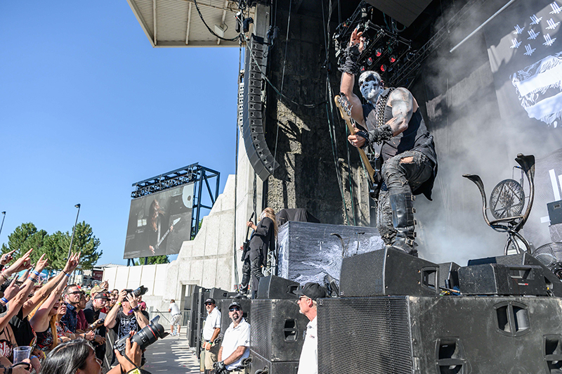 The crowd reaches out as metal band Behemoth opens Thursday night's Knotfest Roadshow at the USANA Amphitheatre.