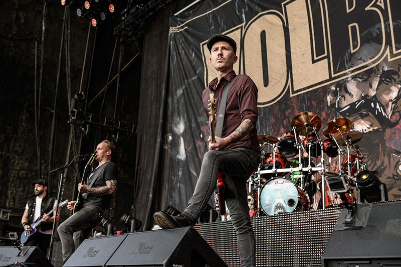 Danish rock group Volbeat performs as part of Thursday night's Knotfest Roadshow.