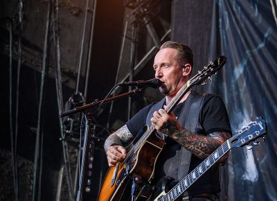 Volbeat lead singer Michael Poulsen on stage at the Knotfest Roadshow.