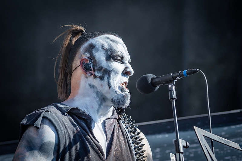 Face painted in rage, Polish metal band Behemoth opens the festivities at Thursday night's Knotfest Roadshow at the USANA Amphitheatre.