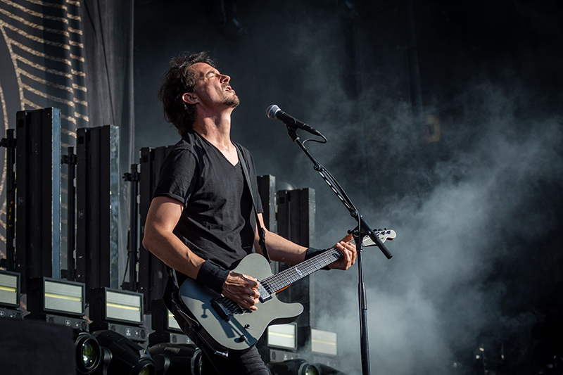 French metal band Gojira adds to the opening setlist at the Knotfest Roadshow.