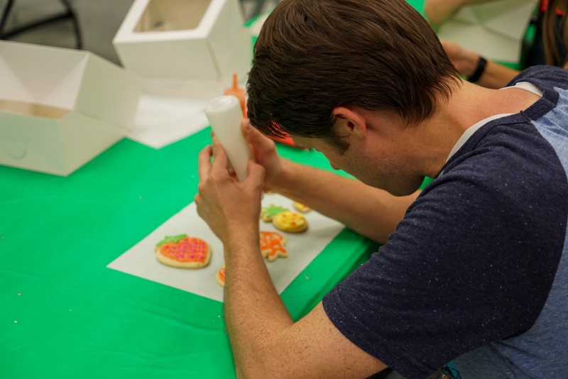 Decorating cookies takes some concentration.
