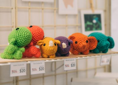 Hand crocheted animals are just a few of the amazing things waiting for you at CLC.