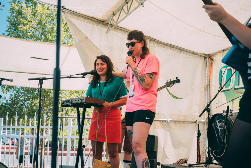 (L–R) SLUG's own Bianca Velasquez and Kate Ellis took to the stage to rock our souls during the DIY Fest.