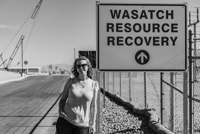 Recovery and Sustainability Manager Morgan Olsen Bowerman touts Wasatch Resource's capacity to process food waste with their anaerobic digester.