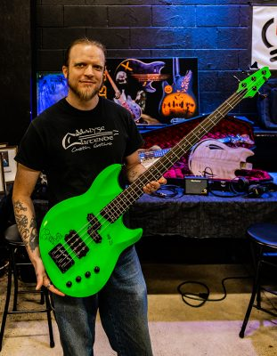 David Kirkham of KSM Guitars showing off one of his custom builds.