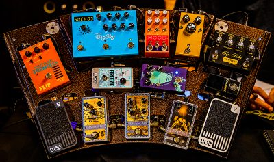 A wealthy array of pedals on display at the SLAMM Music Expo.
