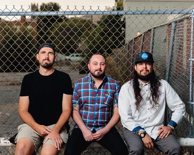 (L–R) Nick Harris, Alexander Ortega and Camilo Torres incorporate idiomatic elements into their music, such as throat-singing.