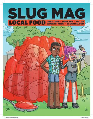 Spencer Holt's cover illustration for SLUG's September 2019 Local Food issue.
