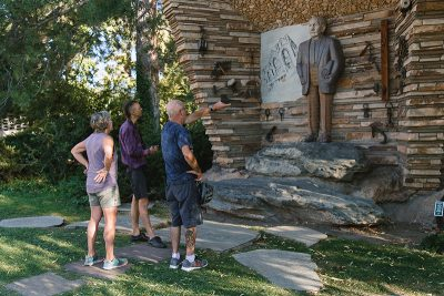 Some Gilgal Sculpture Garden patrons take in the area's strange beauty.