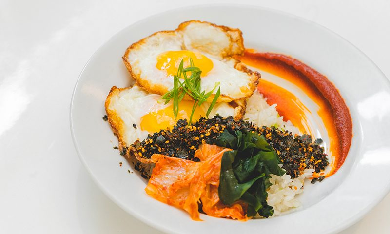 The Dayroom always offers a medley of revolving menu items, such as the Rice Egg dish.