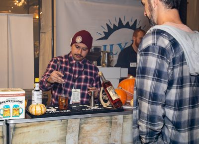 High West's Julio Chavarria stirs up a Yipee Ki Yay old fashioned at Boo!stillery.