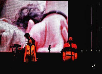 Back-up singers for Blood Orange on stage in Salt Lake City.