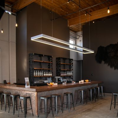 The elegant interior of Beehive Distilling offers a great ambiance for their fine liquors.