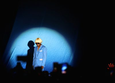 Tyler, the Creator poses in formation.
