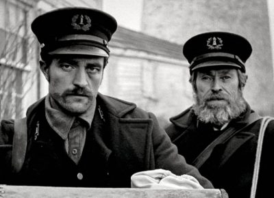 (L–R) Robert Pattinson and WIllem Dafoe in The Lighthouse.