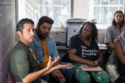 Playwrights with varying levels of experience participate in Plan-B's writing workshops.