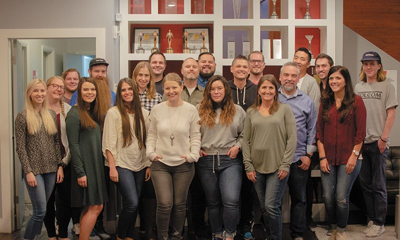 Helmed by Executive Creative Director Ryan Anderson (black hoodie) and President Kyle Curtis (sky-blue dress shirt), the Fluid team seeks excellence in helping to execute inventive branding visions for their clients.