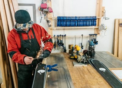 The Hinterland Skis Build Team hard at work on a pair of their skis.