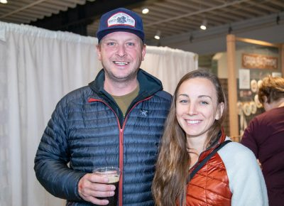 "(L–R) Dave O'Connell and Hannah Fleming shared a Rooster's O-Town Nut Brown. ""I'm not a beer person, but I thought it was good,"" says Fleming."