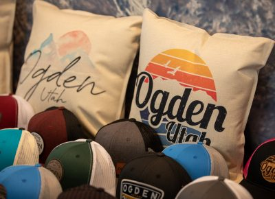 Ogden Wear sold hats, beanies, shirts, mugs and a Santa-themed cutting board.