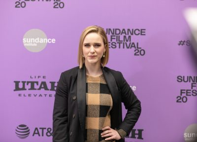 Rachel Brosnahan of the film Ironbark caught during the premiere at the Sundance Film Festival 2020. Photo: Logan Sorenson (LmSorenson.net)