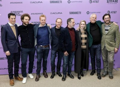 Cast and production members for the film Iron Bark at the Sundance Film Festival 2020. Photo: Logan Sorenson (LmSorenson.net)