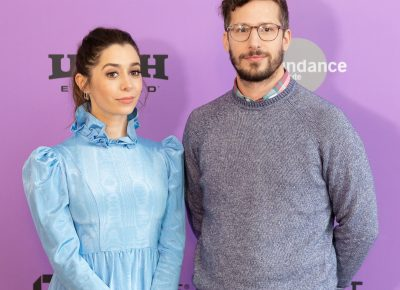 Andy Samberg and costar Cristin Milioti posing during the premiere of new comedy Palm Springs at the Sundance Film Festival 2020. Photo: Logan Sorenson (LmSorenson.net)