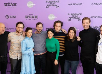 Cast and production members of new comedy Palm Springs at the Sundance Film Festival 2020. Photo: Logan Sorenson (LmSorenson.net)