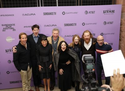 AHHHHH!. . . Cast of the new film Downhill scream at the red carpet at the suggestion of actor Will Ferrell during the Sundance Film Festival 2020. Photo: Logan Sorenson (LmSorenson.net)