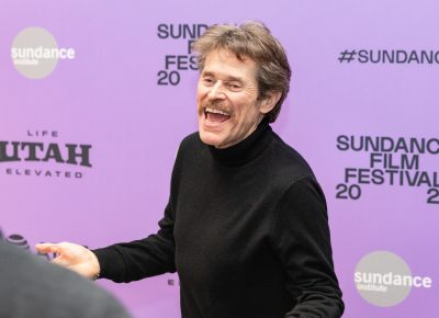 Willem Dafoe having a blast at the Sundance Film Festival 2020 for the premiere of new Netflix film The Last Thing He Wanted. Photo: Logan Sorenson (LmSorenson.net)